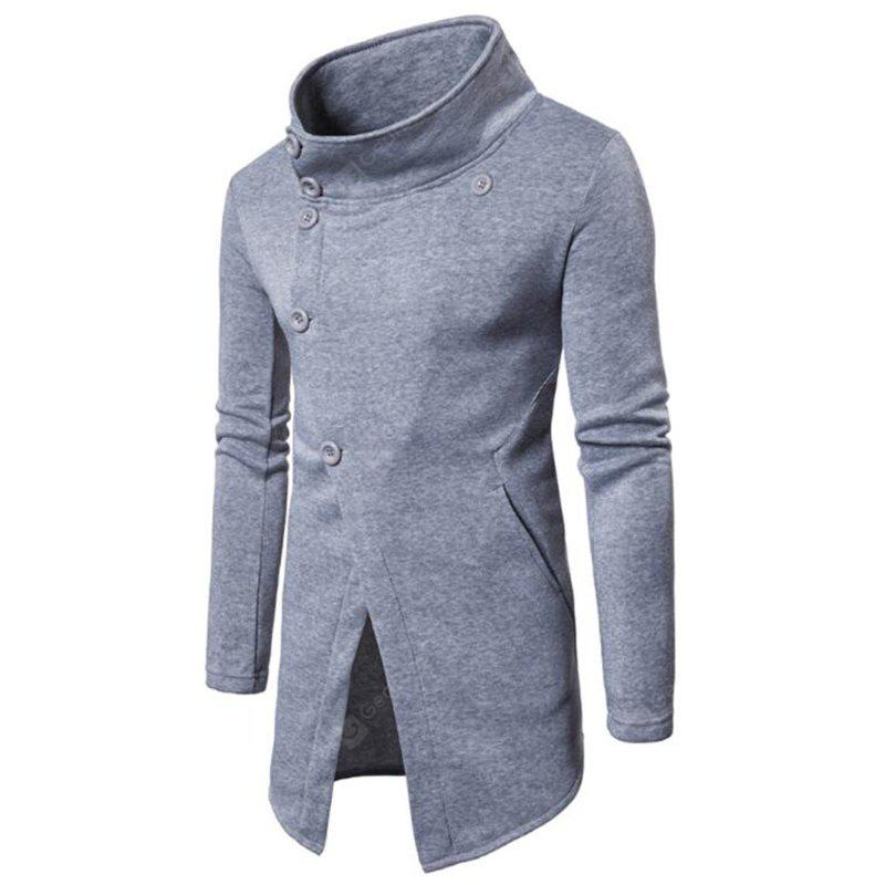 Men's Casual Inclined Button Solid Color Stand Collar Sweatshirt