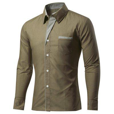 Mens Placket Color Matching Plus Size Spring Long Sleeve Pure Color Shirt