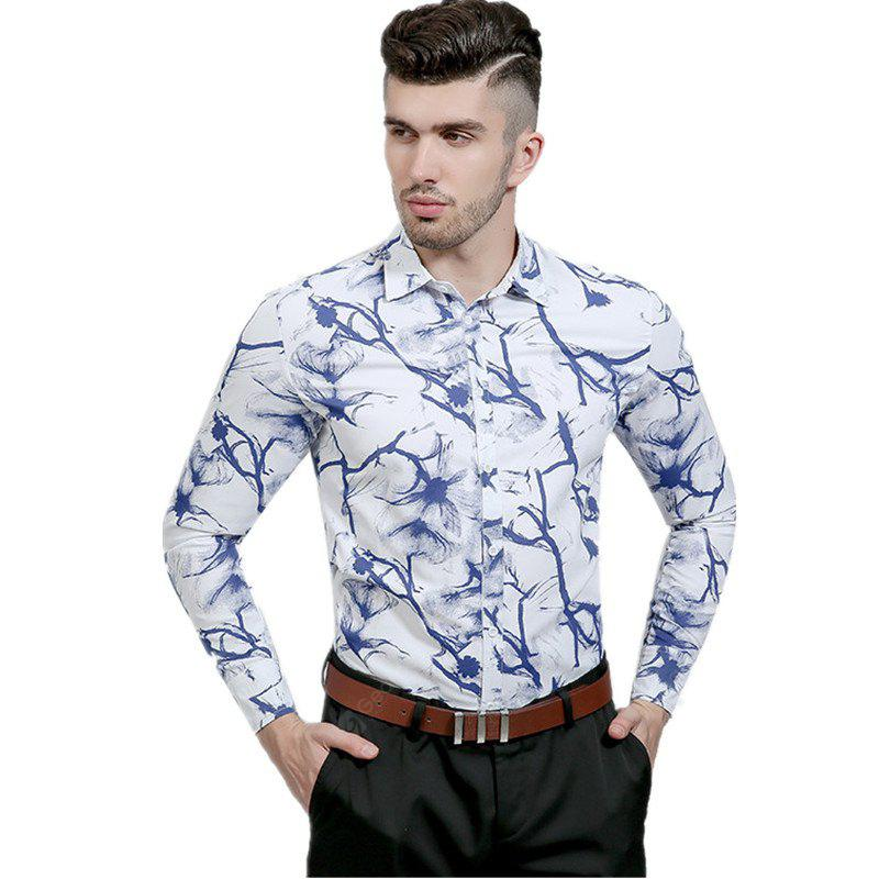 Chinese Ink Printing and Casual Lapel Long Sleeved Shirt