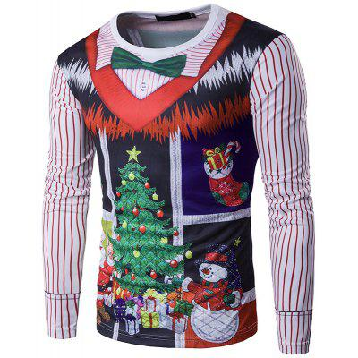 New Personality Christmas Tree Print Collar 3D Long Sleeved T-Shirt