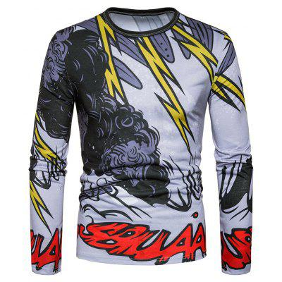 New Style Lightning and Black Cloud Interlaced Printing Long Sleeved T - Shirt