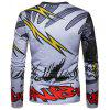 New Style Lightning and Black Cloud Interlaced Printing Long Sleeved T - Shirt - DARK GREY