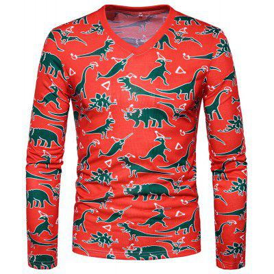 Man 3D Animal Pattern Long Sleeved V Collar T-Shirt