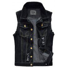 Men's Denim Vest Plus Size Hole Design Frayed Sleeveless Coat