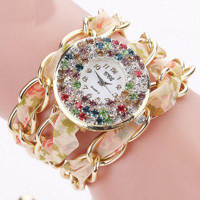 Women  Bracelet Colorful Rhinestones Inlay Dial Chain Ribbon Band Watch Accessory
