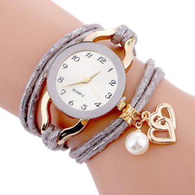 Women  Bracelet  Round Simple Dial Pearl Decor Band Casual Trendy Watch Accessory