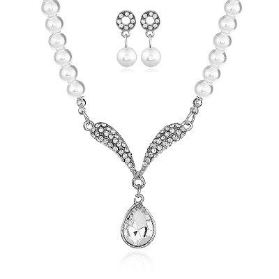 Freshwater With Beads Jewelry Sets Silver Wedding Decoration For Women Pendant Necklaces and Earrings