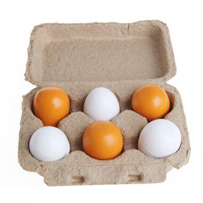 Wooden Pretend Play Eggs Assembling Toy for Kids Educational Gift Kitchen Food 6PCS