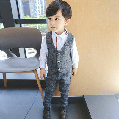 A Two-Piece Suit for ChildrenS New VestBoys Clothing Sets<br>A Two-Piece Suit for ChildrenS New Vest<br><br>Closure Type: Single Breasted<br>Collar: V-Neck<br>Fabric Type: Jersey<br>Material: Cotton<br>Package Contents: 1X Suit<br>Package size (L x W x H): 1.00 x 1.00 x 1.00 cm / 0.39 x 0.39 x 0.39 inches<br>Package weight: 0.3000 kg<br>Pattern Style: Solid<br>Season: Spring<br>Sleeve Length: Full<br>Style: Leisure<br>Weight: 0.3000kg