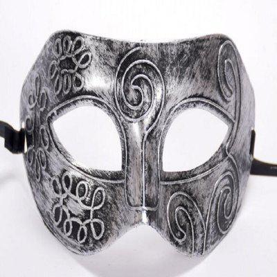 Ancient Roman Ball Mask Halloween Gold Silver Bronze Mask Classic Man Half Face Flat Carved PVC