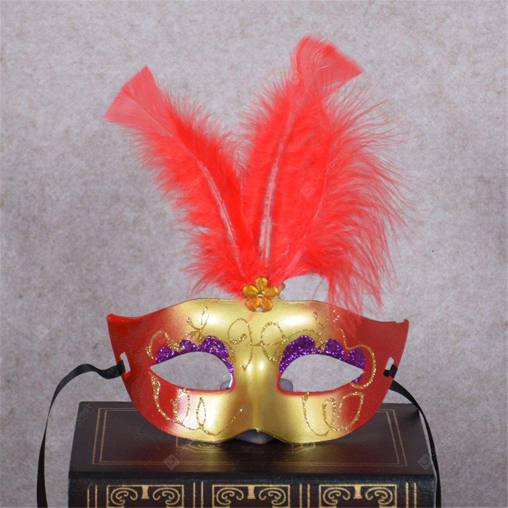 New Party Masquerade Masks Halloween Christmas Feather Mask Fashion Women Sexy Half Face Masked RED