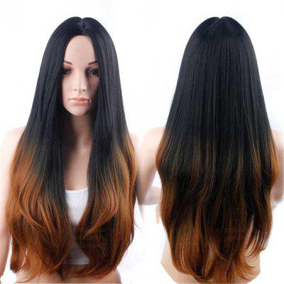 CHICSHE Synehetic Long Ombre Wigs for Women Wavy Black Brown Hair