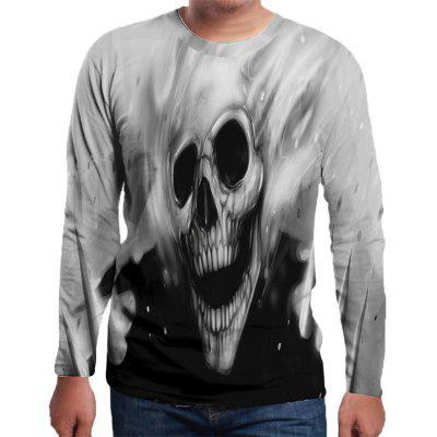 Skeleton Print Round Neck Long Sleeve 3D T Shirt