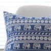 Car Cushion Cover Bohemian Blue Elephant Pattern Pillowcase - BLUE