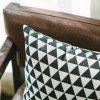 Sofa Cushion Cover Triangle Pattern Soft Square Pillowcase - BLACK WHITE