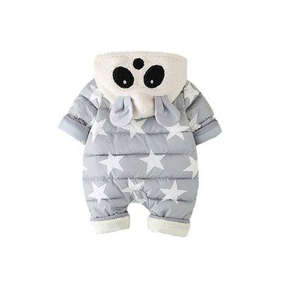 Cute and Star Panda Jumpsuitbaby rompers<br>Cute and Star Panda Jumpsuit<br><br>Closure Type: Zipper<br>Collar: Hooded<br>Gender: Unisex<br>Material: Cotton, Cotton Blend<br>Package Contents: 1 x Jumpsuit<br>Pattern Style: Geometric<br>Season: Winter<br>Sleeve Length: Full<br>Thickness: Thick<br>Weight: 0.5500kg