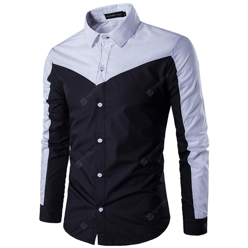 Spring Stitching Cotton Slim Youth Long-Sleeved Shirt
