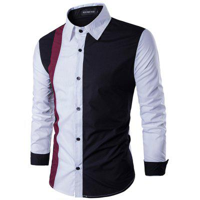 Stitching Cotton Slim Youth Long-Sleeved Shirt