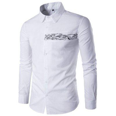 Long-Sleeved Embroidery Pattern Casual Shirt