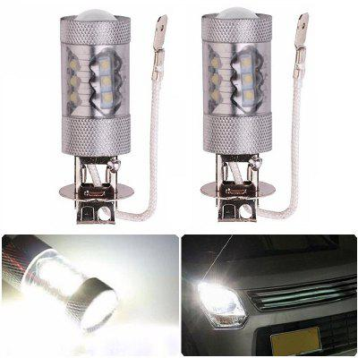 2PCS H3 16LEDS SMD 2828 80W 6500K -7000K LED Fog Bulb Headlight for Car DC12-24V