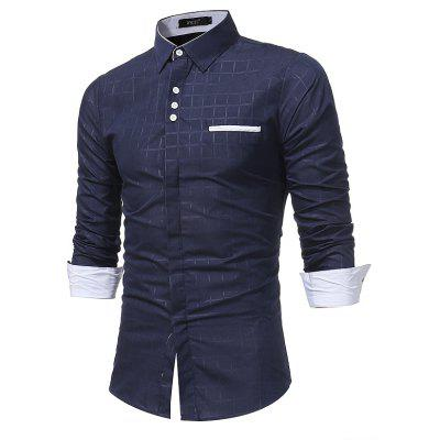 2018 New Simple Lattice Printed Dünnes Business Langarm-Shirt