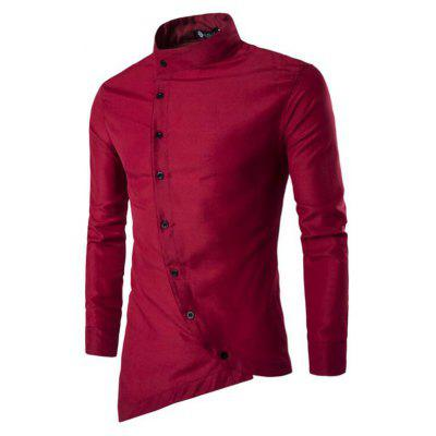 Men's Casual Simple Stand Collar Long Sleeves Shirts