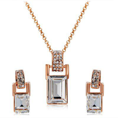 Barrel Shaped Crystal Inlaid Pendant Necklace Earring Set