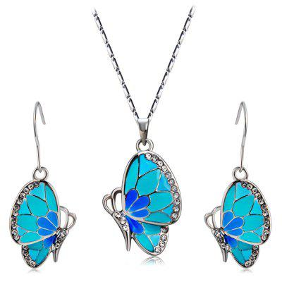 Women's Crystal Blue Butterfly Inlaid Alloy Necklace Earring Set