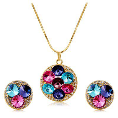 Women'S Fashionable Crystal Inlaid Pendant Necklace Earring Set