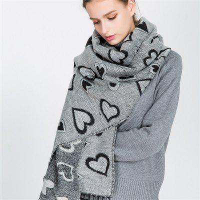 M1721 New Heart Pattern Silver Imitation Cashmere Scarf (SALYBABY) Cleveland Classifieds new