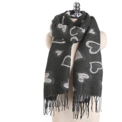 M1721 New Heart Pattern Silver Imitation Cashmere Scarf