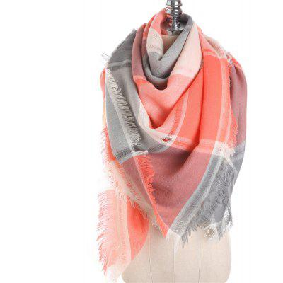 M1722 Color Lattice Square Hollow Fringed Scarf