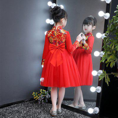 Retro Cheongsam Dress Autumn Princess DressGirls dresses<br>Retro Cheongsam Dress Autumn Princess Dress<br><br>Dresses Length: Knee-Length<br>Material: Cotton<br>Package Contents: 1 x Dress<br>Pattern Type: Bowknot<br>Silhouette: Ball Gown<br>Style: Fashion<br>Weight: 1.2000kg<br>With Belt: Yes