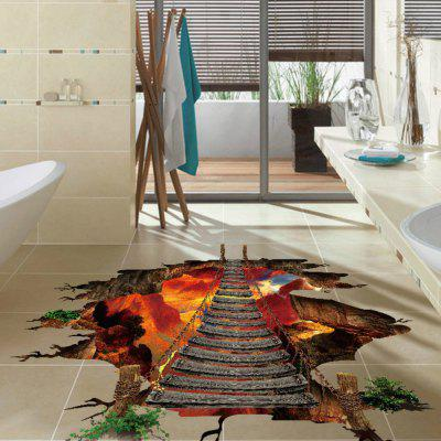 3D Floor Sticker Flaming Mountain Decals Home Decoration