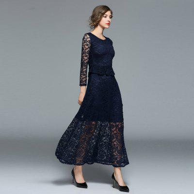 Fashion Lace Sleeve DressWomens Dresses<br>Fashion Lace Sleeve Dress<br><br>8110609: None<br>Dresses Length: Floor-Length<br>Elasticity: Micro-elastic<br>Embellishment: Lace<br>Fabric Type: Lace<br>Material: Lace<br>Neckline: Round Collar<br>Package Contents: 1xDress<br>Pattern Type: Solid<br>Season: Spring<br>Silhouette: A-Line<br>Sleeve Length: Long Sleeves<br>Style: Fashion<br>Waist: Natural<br>Weight: 0.4000kg<br>With Belt: No