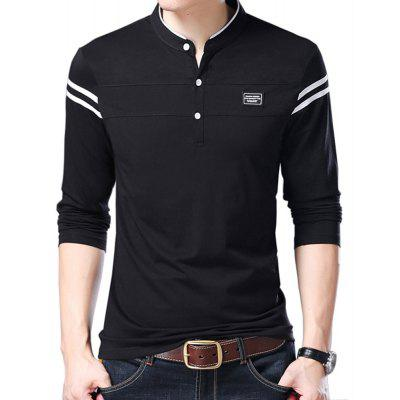 Men Cotton Stand Collar Long Sleeved Casual T-Shirts