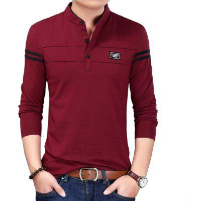 Hombres Algodón Stand Collar Long Sleeved Casual T-Shirts