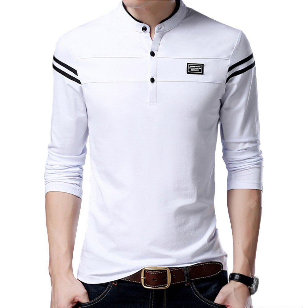 Men Cotton Stand Collar Long Sleeved Casual T Shirts 3838 Free