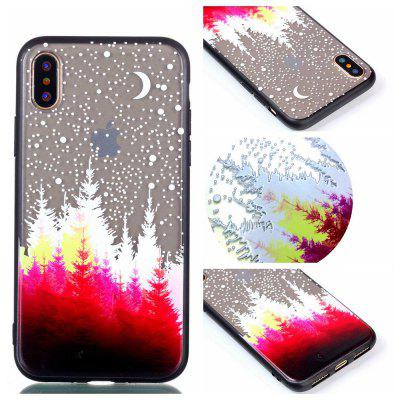 para Iphone X Relievo Red Forest Soft Clear TPU Phone Casing Mobile Smartphone Cover Shell Case