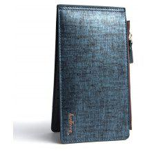Baellerry Korean Style Multi-Function Trifold PU Leather Long Wallet Double Zips Credit Card Holder