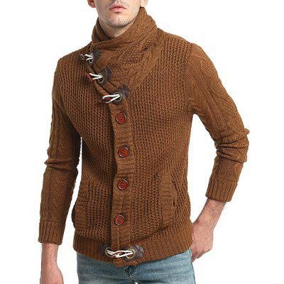New Men Fashion Horn Button Buckle Wool Twist Collar Long-Sleeved Cardigan Sweater