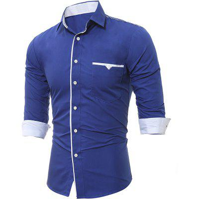 Spring and Autumn New Patch Pocket Trim Men Casual Slim Long-Sleeved Shirt