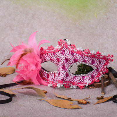 Lace Diamond Sequins Lily Princess Lace Halloween Party Feather Mask