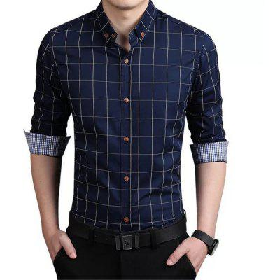 Checked Long-Sleeve Casual Shirt