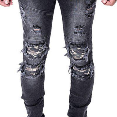 Spell Hole Trend JeansMens Pants<br>Spell Hole Trend Jeans<br><br>Closure Type: Button Fly<br>Color: Black,Blue<br>Elasticity: Elastic<br>Embellishment: Frayed<br>Fabric Type: Oxford<br>Fit Type: Skinny<br>Front Style: Flat<br>Length: Normal<br>Material: Jeans<br>Package Contents: 1 x Jeans<br>Package size (L x W x H): 1.00 x 1.00 x 1.00 cm / 0.39 x 0.39 x 0.39 inches<br>Package weight: 0.5600 kg<br>Pant Style: Pencil Pants<br>Pattern Type: Others<br>Product weight: 0.5000 kg<br>Style: Streetwear<br>Thickness: Standard<br>Waist Type: Mid<br>Wash: Stonewashed<br>With Belt: No
