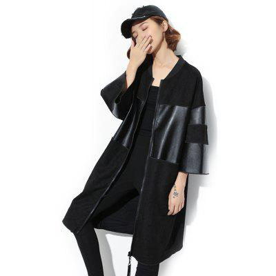 PU Leather Trench Coat Long Sleeve Leather Coat
