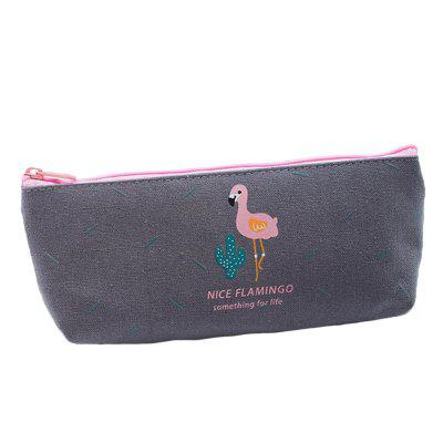 Simple and Cute Flamingo Canvas Pencil Case