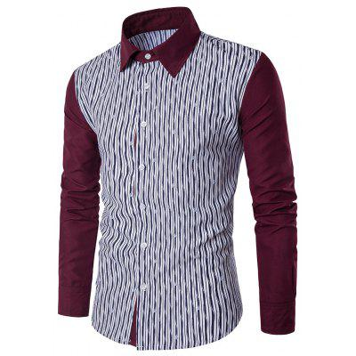 Long-Sleeved Striped Spell Color Shirt