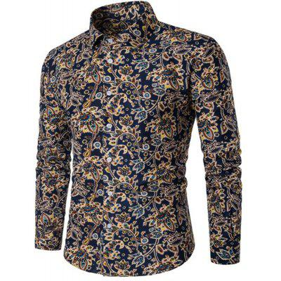 2018 Spring and Summer New Cotton Printed Long-Sleeved Shirt