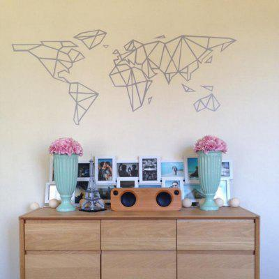 Geometric World Map Vinyl Wall Sticker for Kids Room Murals Decals Home DecoratinWall Stickers<br>Geometric World Map Vinyl Wall Sticker for Kids Room Murals Decals Home Decoratin<br><br>Art Style: Plane Wall Stickers, Toilet Stickers<br>Color Scheme: Black<br>Function: Decorative Wall Sticker<br>Material: Paper, Vinyl(PVC)<br>Package Contents: 1 x wall sticker, 1 x transfer sheet<br>Package size (L x W x H): 23.00 x 4.00 x 4.00 cm / 9.06 x 1.57 x 1.57 inches<br>Package weight: 0.0700 kg<br>Quantity: 1<br>Sizes: Others<br>Subjects: Flower,Famous,Shape,History<br>Suitable Space: Living Room,Bedroom,Office,Kids Room,Door,Corridor,Kids Room,Study Room / Office<br>Type: Plane Wall Sticker